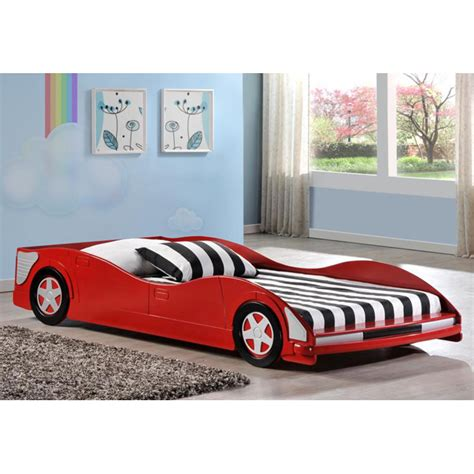 Dresden Twin Size Race Car Bed - Low Profile, Red | DCG Stores