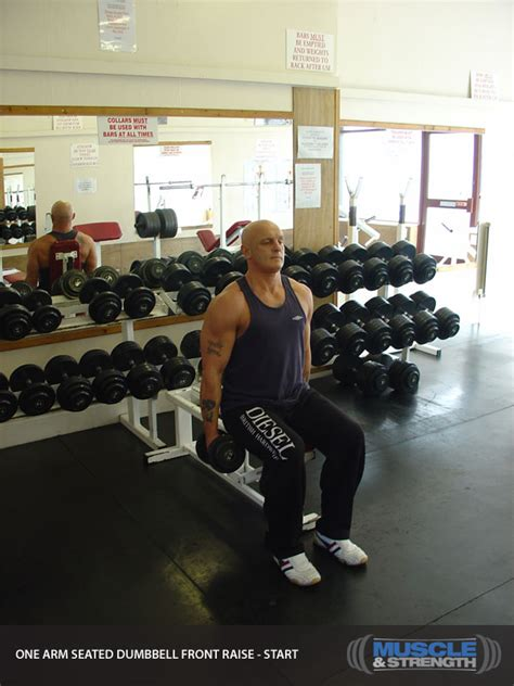 One Arm Seated Dumbbell Front Raise: Video Exercise Guide